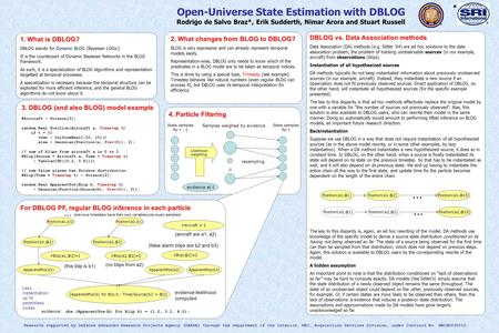 4. Particle Filtering For DBLOG PF, regular BLOG inference in each particle Open-Universe State Estimation with DBLOG Rodrigo de Salvo Braz*, Erik Sudderth,