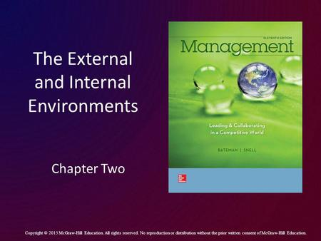 The External and Internal Environments Chapter Two Copyright © 2015 McGraw-Hill Education. All rights reserved. No reproduction or distribution without.