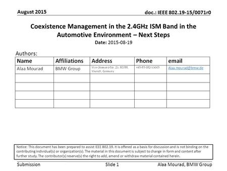 Submission doc.: IEEE 802.19-15/0071r0 August 2015 Alaa Mourad, BMW GroupSlide 1 Coexistence Management in the 2.4GHz ISM Band in the Automotive Environment.