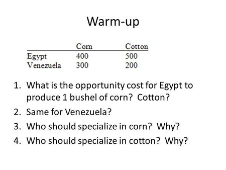 Warm-up 1.What is the opportunity cost for Egypt to produce 1 bushel of corn? Cotton? 2.Same for Venezuela? 3.Who should specialize in corn? Why? 4.Who.