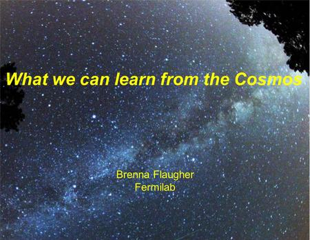 Brenna Flaugher Fermilab What we can learn from the Cosmos.