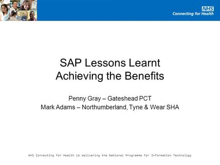 SAP Lessons Learnt Achieving the Benefits