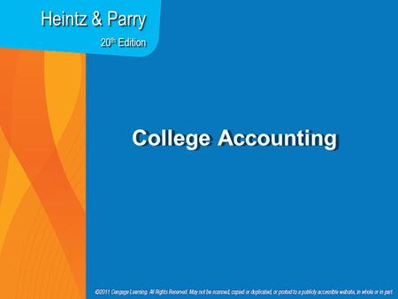 College Accounting Heintz & Parry 20 th Edition. Chapter 16 Accounting for Accounts Receivable.