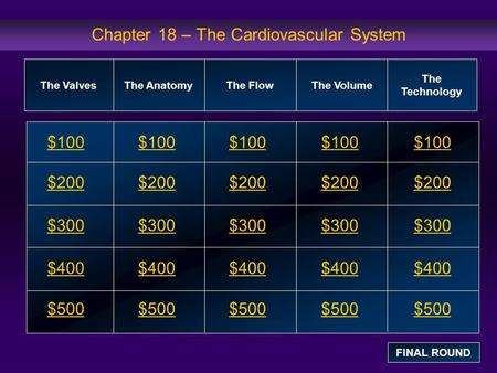 Chapter 18 – The Cardiovascular System $100 $200 $300 $400 $500 $100$100$100 $200 $300 $400 $500 The ValvesThe AnatomyThe FlowThe Volume The Technology.
