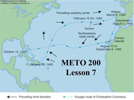 METO 200 Lesson 7. Fig. 7-1, p. 189 Voyage of Christopher Columbus Columbus sailed down the coast of Africa to pick up the Northeasterly winds (The trade.