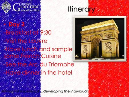 Aiming for excellence…developing the individual Itinerary Day 3 -Breakfast at 9:30 -Visit the Louvre -Have lunch and sample some French Cuisine -See the.