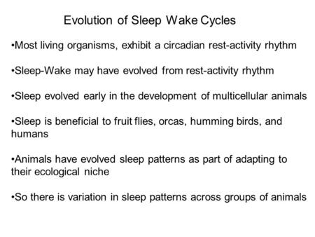 Evolution of Sleep Wake Cycles Most living organisms, exhibit a circadian rest-activity rhythm Sleep-Wake may have evolved from rest-activity rhythm Sleep.
