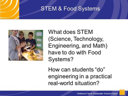 Shelburne Farms' Sustainable Schools Project STEM & Food Systems What does STEM (Science, Technology, Engineering, and Math) have to do with Food Systems?