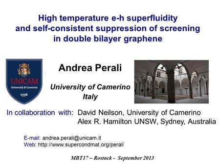 MBT17 – Rostock - September 2013 High temperature e-h superfluidity and self-consistent suppression of screening in double bilayer graphene Andrea Perali.