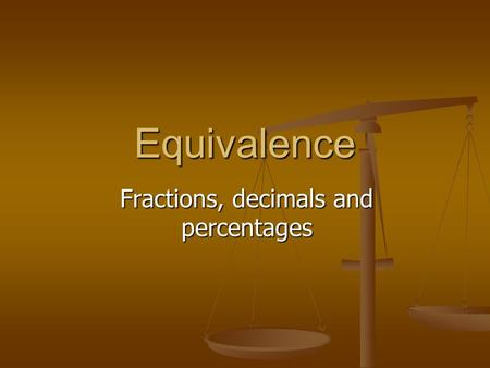 Equivalence Fractions, decimals and percentages Mental starter 1575231560.72.5 5296502580 106340.20.030.5 0.413.56.257.20.9 × ÷ 10 100 1000.