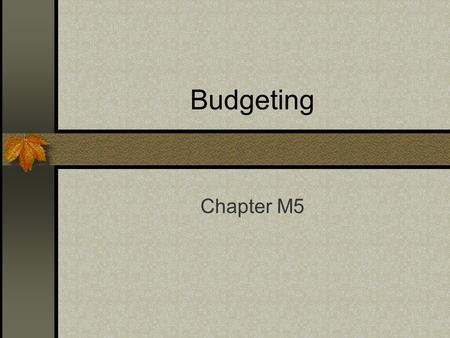Budgeting Chapter M5. Budgets Charts a course for a business by outlining the plans of the business in financial terms.