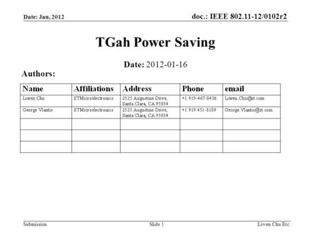Doc.: IEEE 802.11-12/0102r2 SubmissionLiwen Chu Etc.Slide 1 TGah Power Saving Date: 2012-01-16 Authors: Date: Jan, 2012.