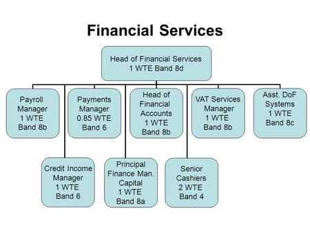 Financial Services Head of Financial Services 1 WTE Band 8d Payroll Manager 1 WTE Band 8b Payments Manager 0.85 WTE Band 6 Head of Financial Accounts 1.