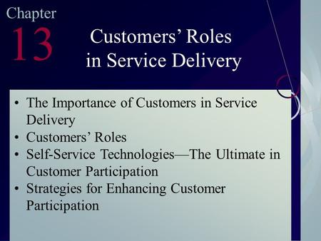McGraw-Hill/Irwin ©2003. The McGraw-Hill Companies. All Rights Reserved Chapter 13 Customers' Roles in Service Delivery The Importance of Customers in.