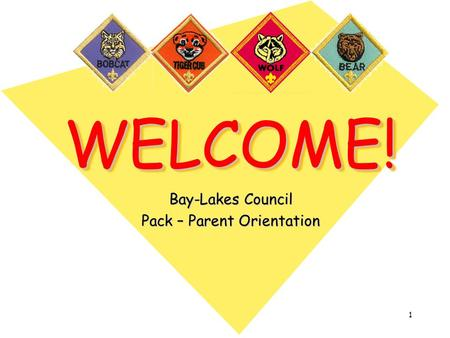 1 WELCOME!WELCOME! Bay-Lakes Council Pack – Parent Orientation.