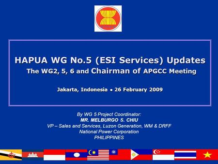 HAPUA WG No.5 (ESI Services) Updates The WG2, 5, 6 and Chairman of APGCC Meeting Jakarta, Indonesia ● 26 February 2009 By WG 5 Project Coordinator: MR.
