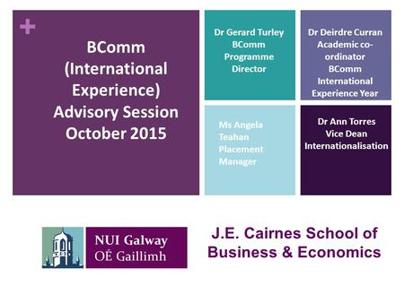 + BComm (International Experience) Advisory Session October 2015 J.E. Cairnes School of Business & Economics Dr Ann Torres Vice Dean Internationalisation.