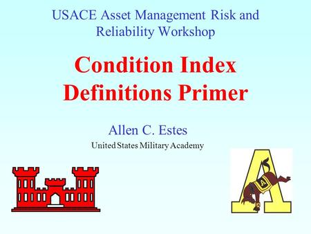 USACE Asset Management Risk and Reliability Workshop Condition Index Definitions Primer Allen C. Estes United States Military Academy.