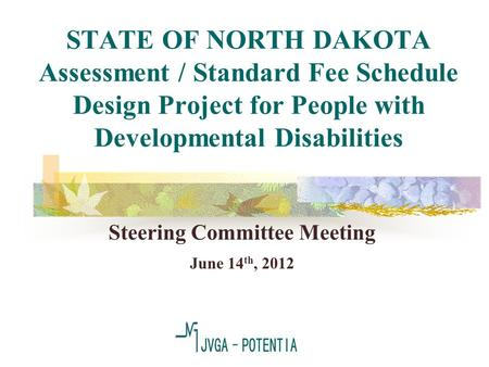 STATE OF NORTH DAKOTA Assessment / Standard Fee Schedule Design Project for People with Developmental Disabilities Steering Committee Meeting June 14 th,