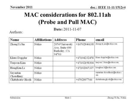 Submission doc.: IEEE 11-11/1512r4 November 2011 Slide 1 MAC considerations for 802.11ah (Probe and Pull MAC) Date: 2011-11-07 Authors: Zhong-Yi Jin, Nokia.