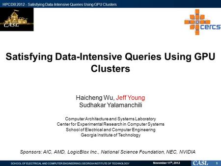 SCHOOL OF ELECTRICAL AND COMPUTER ENGINEERING | GEORGIA INSTITUTE OF TECHNOLOGY HPCDB 2012 - Satisfying Data-Intensive Queries Using GPU Clusters November.