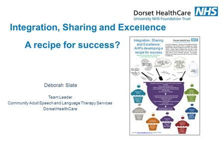 Deborah Slate Integration, Sharing and Excellence A recipe for success? Team Leader Community Adult Speech and Language Therapy Services Dorset HealthCare.