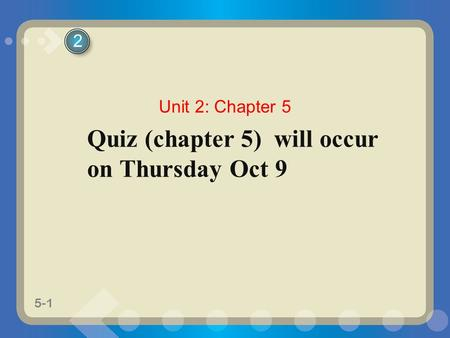 5-1 Quiz (chapter 5) will occur on Thursday Oct 9 2 Unit 2: Chapter 5.