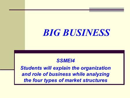BIG BUSINESS SSMEI4 Students will explain the organization and role of business while analyzing the four types of market structures.