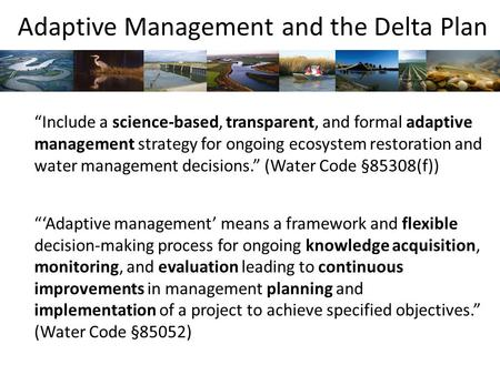 "Adaptive Management and the Delta Plan ""Include a science-based, transparent, and formal adaptive management strategy for ongoing ecosystem restoration."