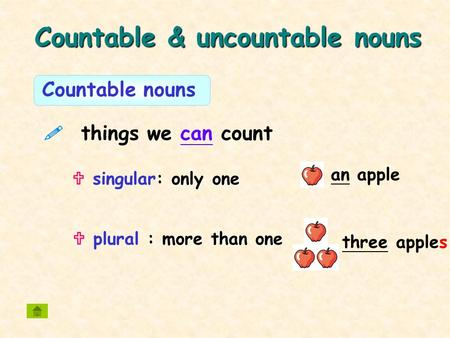 Countable & uncountable nouns an apple  things we can count more than one  plural : more than one three apples Countable nouns only one  singular: only.