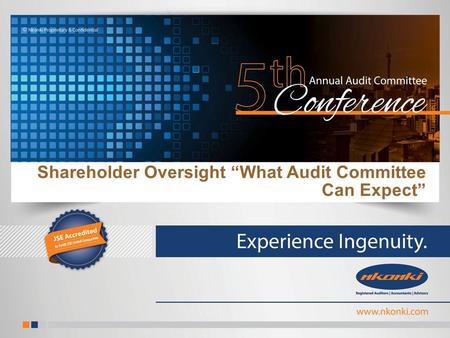 "Shareholder Oversight ""What Audit Committee Can Expect"""