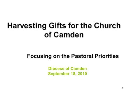 11 Harvesting Gifts for the Church of Camden Focusing on the Pastoral Priorities Diocese of Camden September 18, 2010.