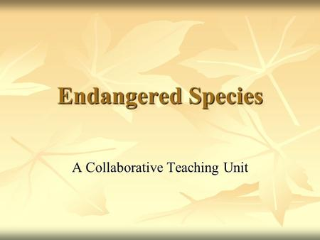 Endangered Species A Collaborative Teaching Unit.