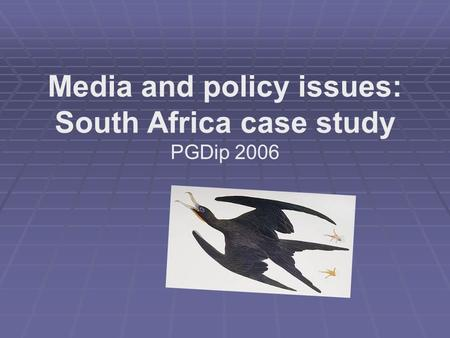 Media and policy issues: South Africa case study PGDip 2006.