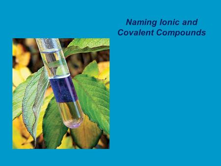 Naming Ionic and Covalent Compounds. A compound is a substance composed of two or more elements combined in a specific ratio and held together by chemical.