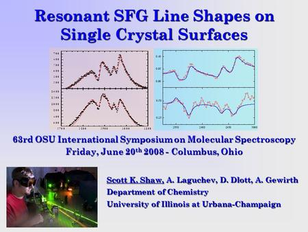 Resonant SFG Line Shapes on Single Crystal Surfaces Scott K. Shaw, A. Laguchev, D. Dlott, A. Gewirth Department of Chemistry University of Illinois at.
