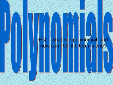 EQ – what is a polynomial, and how can I tell if a term is one?