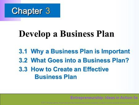 Entrepreneurship: Ideas in Action 5e © 2011 Cengage Learning. All rights reserved. May not be scanned, copied or duplicated, or posted to a publicly accessible.
