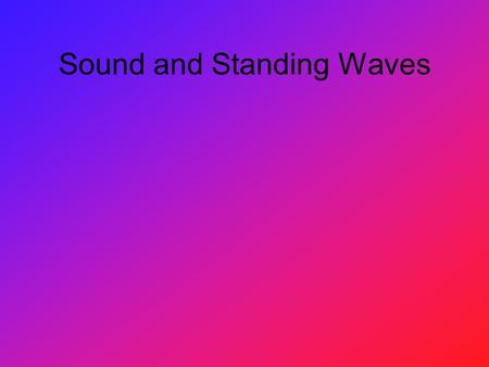 Sound and Standing Waves. Basics of Sound Sound waves travel in longitudinal waves A crest of a sound wave is a compression, where the most particles.