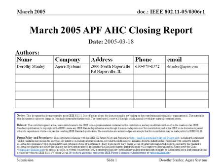 Doc.: IEEE 802.11-05/0306r1 Submission March 2005 Dorothy Stanley, Agere SystemsSlide 1 March 2005 APF AHC Closing Report Notice: This document has been.