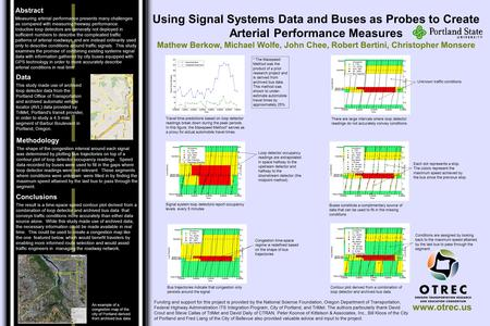 Www.otrec.us Using Signal Systems Data and Buses as Probes to Create Arterial Performance Measures Mathew Berkow, Michael Wolfe, John Chee, Robert Bertini,