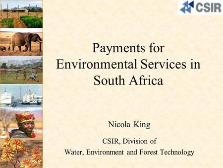 Payments for Environmental Services in South Africa Nicola King CSIR, Division of Water, Environment and Forest Technology.