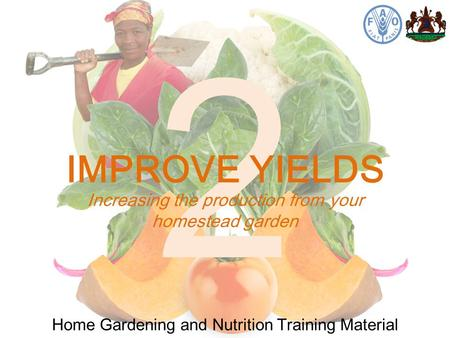 2 Home Gardening and Nutrition Training Material Increasing the production from your homestead garden IMPROVE YIELDS.