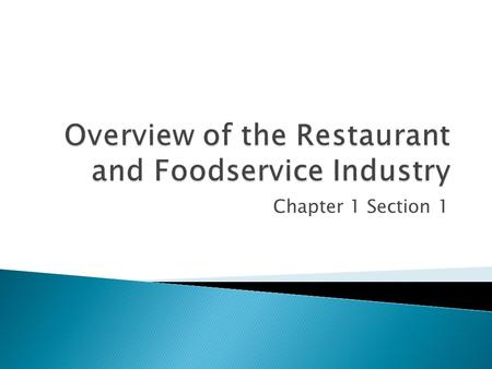 Chapter 1 Section 1.  This industry has annual sales of over $550 billion dollars  There are more than 945,000 restaurants in the United States  This.