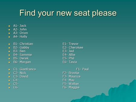 Find your new seat please  A1- Jack  A2- John  A3- Orion  A4- Holly  B1- ChristianE1- Trevor  B2- GabbyE2- Cherokee  B3- BenE3- Jed  B4- SammieE4-