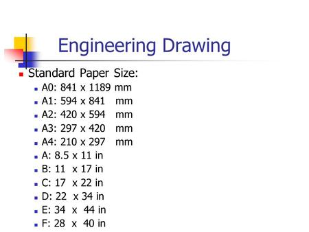 Engineering Drawing Standard Paper Size: A0: 841 x 1189 mm A1: 594 x 841 mm A2: 420 x 594 mm A3: 297 x 420 mm A4: 210 x 297 mm A: 8.5 x 11 in B: 11 x 17.