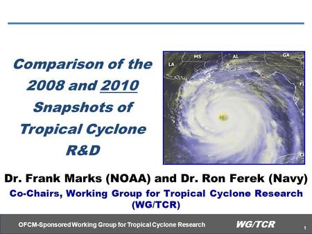OFCM-Sponsored Working Group for Tropical Cyclone Research 1 WG/TCR Comparison of the 2008 and 2010 Snapshots of Tropical Cyclone R&D Dr. Frank Marks (NOAA)