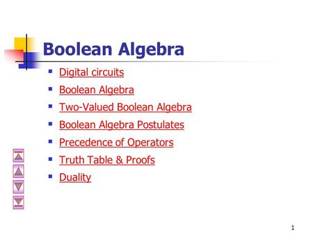 1 Boolean Algebra  Digital circuits Digital circuits  Boolean Algebra Boolean Algebra  Two-Valued Boolean Algebra Two-Valued Boolean Algebra  Boolean.