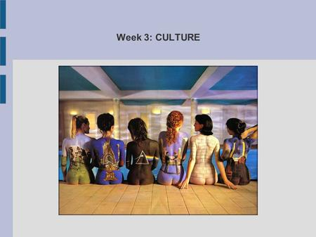 Week 3: CULTURE. Culture is the ways of thinking, the ways of acting, and the material objects that together form a people's way of life. It includes.