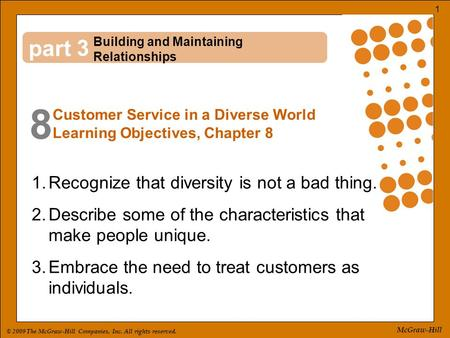 © 2009 The McGraw-Hill Companies, Inc. All rights reserved. 1 McGraw-Hill part 8 3 1.Recognize that diversity is not a bad thing. 2.Describe some of the.